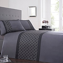 Debenhams - Dark grey satin 'Mishka' bedding set