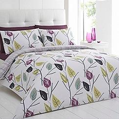 Betty Jackson.Black - Designer purple 'Leaves' bedding set