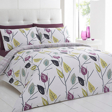 Betty Jackson.Black - Designer purple +Leaves+ bedding set