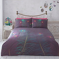 Butterfly Home by Matthew Williamson - Designer dark purple peacock feather bed linen