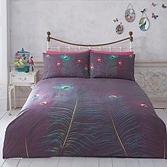Butterfly Home by Matthew Williamson - Designer dark purple peacock feather bed linen