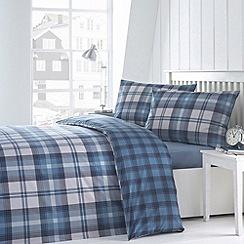 Debenhams - Blue checked bedding set