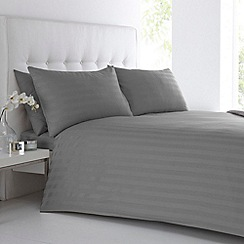 J by Jasper Conran - Designer grey sateen striped bed linen