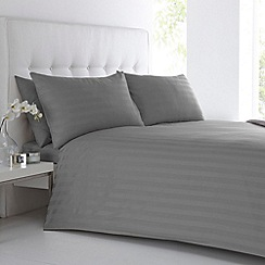 J by Jasper Conran - Designer grey sateen striped bed linen