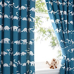 bluezoo - Kid's blue dinosaur print curtain set