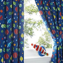 bluezoo - Kids' blue space print curtain set