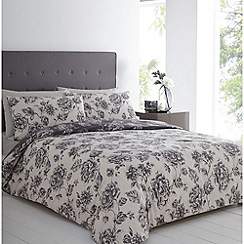 Betty Jackson.Black - Grey floral printed 'Isabelle' duvet cover and pillow case