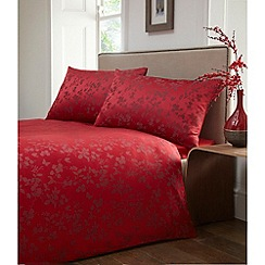 Debenhams - Red jacquard 'Blossom' bedding set