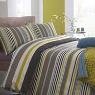 Multi coloured 'Mineral Striped' bed linen