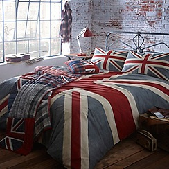 Debenhams - Grey 'Vintage Union Jack' bed linen