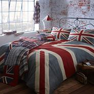 Grey 'Vintage Union Jack' bed linen
