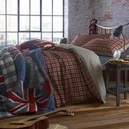 Navy check 'Clayton' bed linen