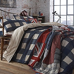 Debenhams - Blue 'Dalton' wide check bed linen