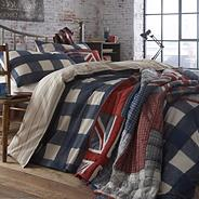 Blue 'Dalton' wide check bed linen