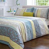Teal 'Leila' jacquard flower bed linen