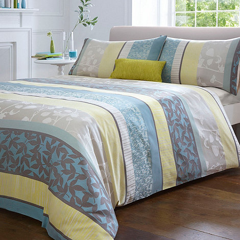 Debenhams - Teal +Leila+ jacquard flower bed linen