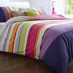 Debenhams - Pink 'Mia' striped bed linen