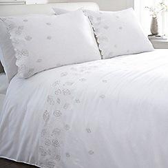 Debenhams - White & silver 'Laska' bedding set