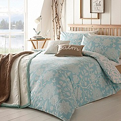 Home Collection - Light blue 'Folk' floral brushed cotton bedding set