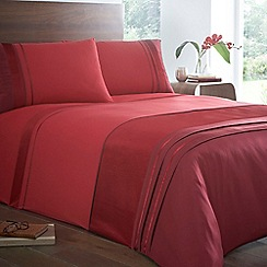 Home Collection - Red 'Nepal' satin trim bedding set