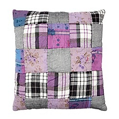 Home Collection - Purple patchwork patterned cushion