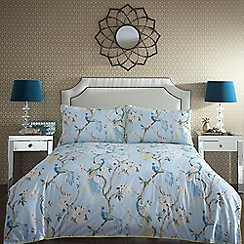 Home Collection - Blue 'Paradise' floral bird pattern bedding set