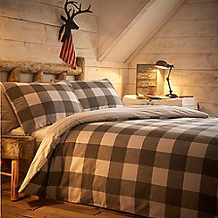 Home Collection - Grey checked 'Felix' brushed cotton flannelette bedding set