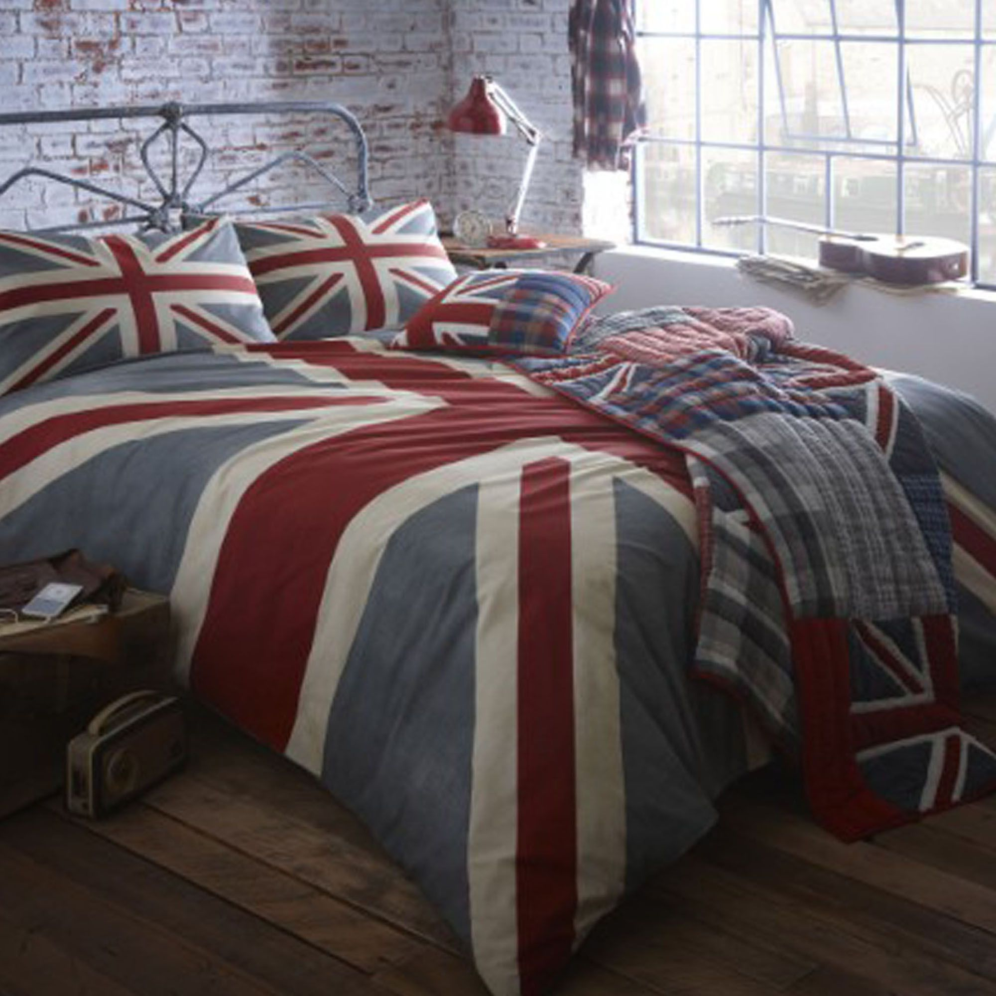 Home Collection Grey Vintage Union Jack Bedding Set From