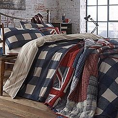 Home Collection - Blue checked 'Dalton' brushed cotton flannelette bedding set