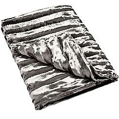 J by Jasper Conran - Grey textured striped faux fur throw
