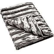 Grey textured striped faux fur throw