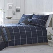 Navy 'Camborne check' bed linen