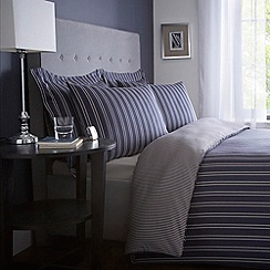 J by Jasper Conran - Designer dark blue woven stripe 'Regent' bed linen