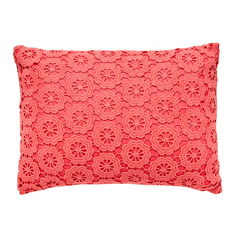 RJR.John Rocha - Coral crocheted front cushion