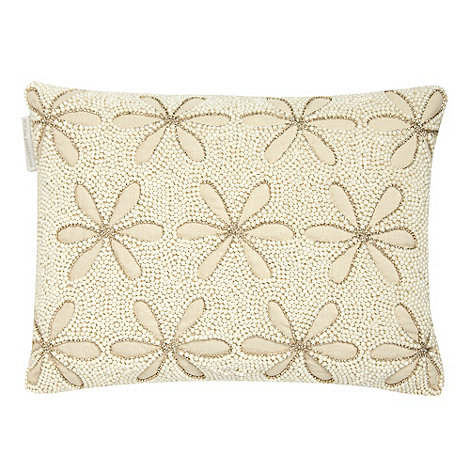 RJR.John Rocha - Natural pearl beaded floral cushion