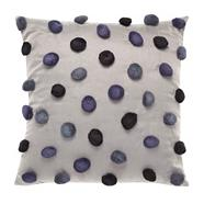 Designer blue pom pom cushion