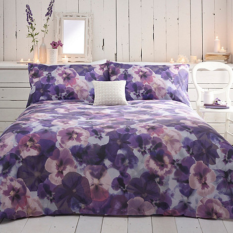 RJR.John Rocha - Designer purple pansies bed linen