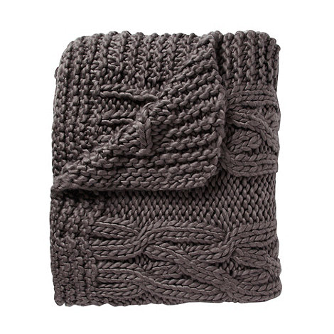 RJR.John Rocha - Designer grey chunky knitted throw