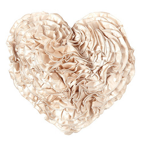 Star by Julien Macdonald - Designer gold ruffled heart cushion