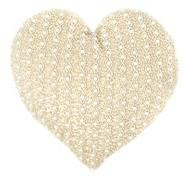 Pale pink embellished heart cushion