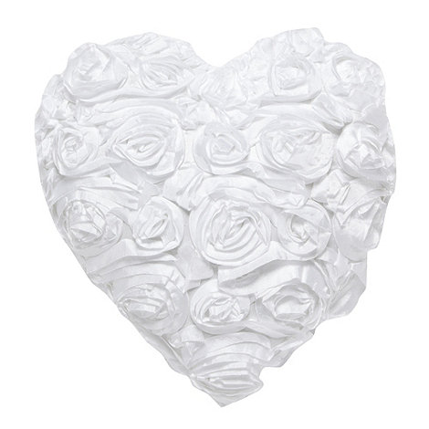 Star by Julien Macdonald - Designer white rose heart cushion
