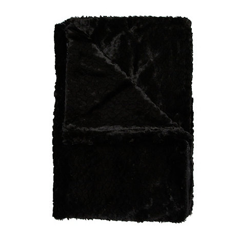 Star by Julien Macdonald - Designer black faux fur throw