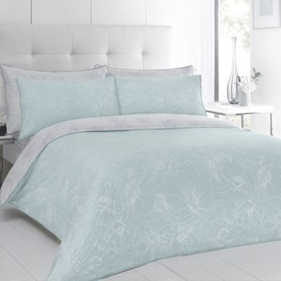 Betty Jackson.Black Designer aqua ´Evelyn´ floral sateen bed linen - . -