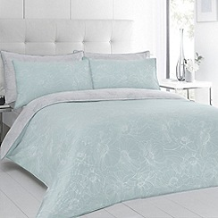 Betty Jackson.Black - Designer aqua 'Evelyn' floral sateen bed linen