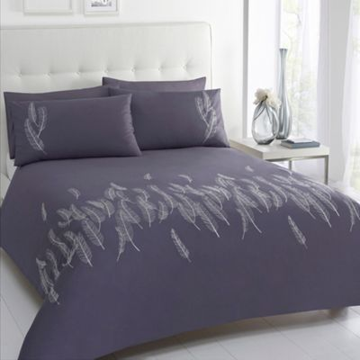 Betty Jackson.Black Designer ´Lois´ grey feather embroidery cotton sateen bed linen - . -