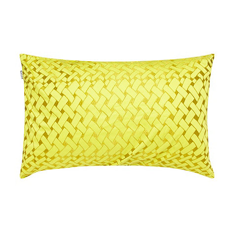 Kas - Yellow basket weave embroidered cushion