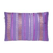 Purple embroidered cotton cushion