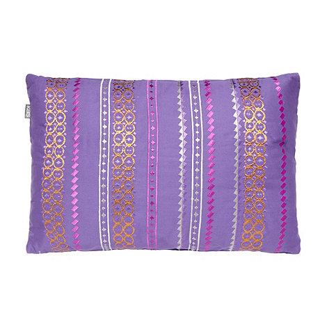 Kas - Purple embroidered cotton cushion