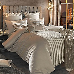Kylie Minogue at home - Taupe satin 'Lucette Praline' bed linen