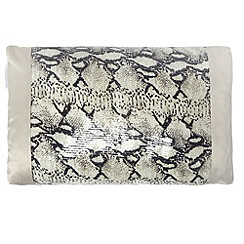 Kylie Minogue at home - Natural snakeskin print satin cushion